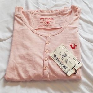 NWT True Religion pink long sleeve henly
